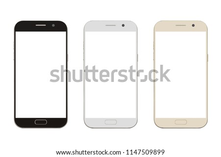 three corlor smart phone with blank screen isolated on white background