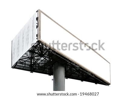 Three-cornered blank big billboard isolated over white background