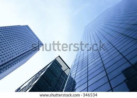 three corporate buildings - stock photo