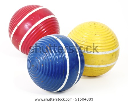 Three croquet balls, blue, red and yellow. Working path included.