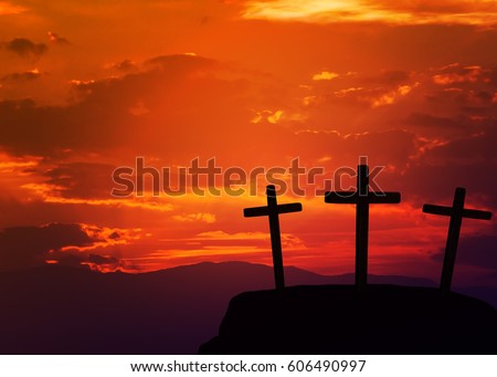three cross on the hill  against sunset sky background. can be use for Easter or Christian background, copy space #606490997