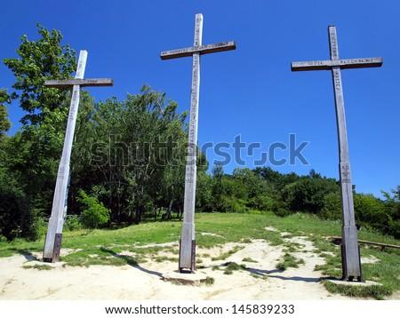 Three Crosses\' Hill in Kazimierz Dolny, Poland - Christian Crosses