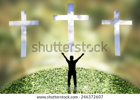 Three Crosses on a blur wall at blue sky and faith