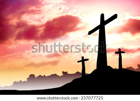 Three crosses on a hill