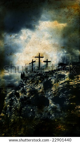 Three Crosses on Golgotha in Israel with a grunge background.