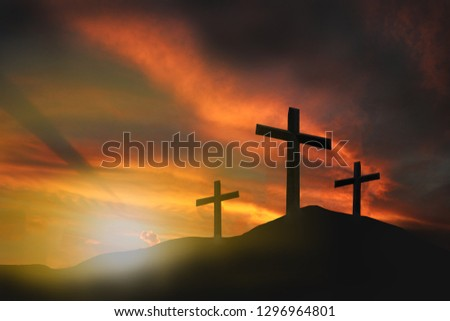 Three crosses on the mountain, crucifixion, Jesus Christ, sunset, abstract concept, can be used as a background. #1296964801