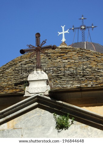 Three crosses on the roof of the church, Great Lavra Monastery, Mount Athos, Halkidiki, Greece