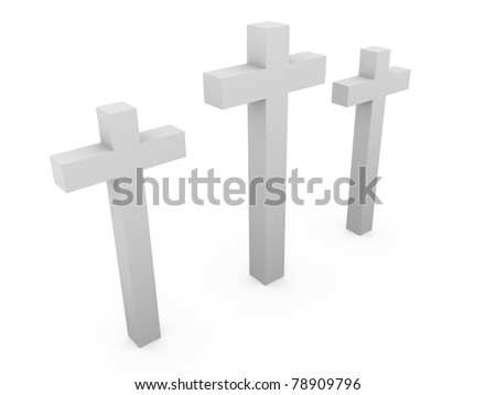 Three crosses over a white background. Christianity, faith and resurection symbol