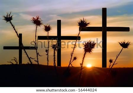 Three crosses, thistle and beautiful sunset.