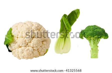 three cruciferous vegetables-cauliflower,bok choy and broccoli #41325568