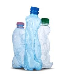 three crushed plastic bottles on white background