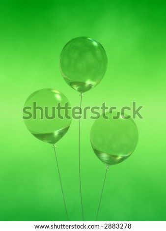 Three crystal balloons on cool green backdrop