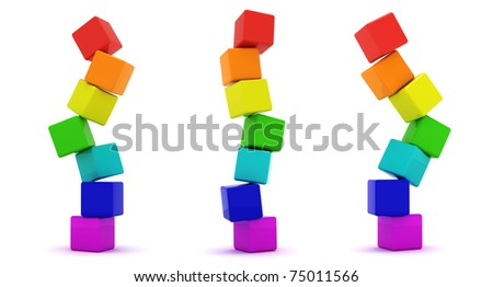 Three cube towers isolated