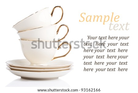 three cup and plate isolated on white with sample text