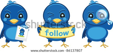 Three cute blue birds icons