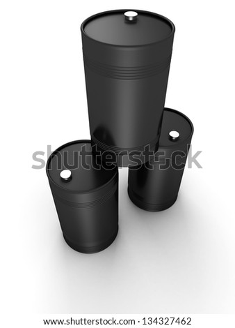 three 3d black oil barrel drums on white background