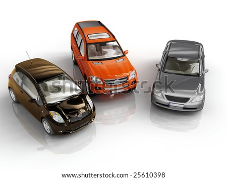 three 3d cars rendered on white background