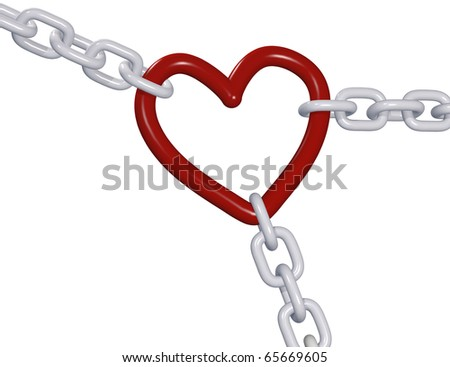 Three 3D chains tug romantic heart Valentine symbol in 3 directions of love triangle