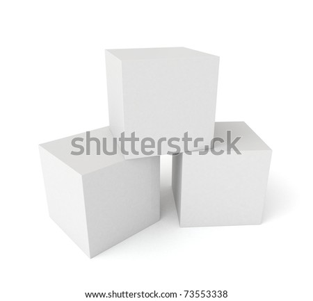 Three 3D cubes isolated on white background