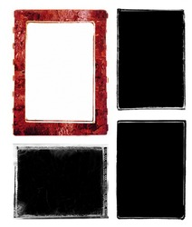 Three darkroom 35mm film photo borders and one instant photo frame with rough edges.  Created by filing the metal edges of different negative carriers for my enlarger.  Scanned, enhanced and altered.