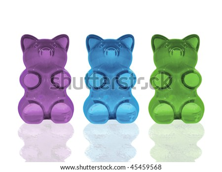 Three darling gummy bears in an updated color palette