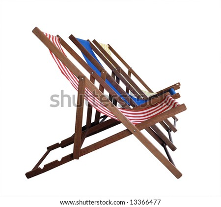 Three Deckchairs isolated with clipping path - stock photo