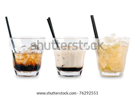 Three decorative cocktails on a white background.