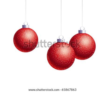 Three decorative red Christmas balls - stock photo