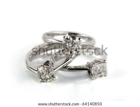three diamond rings - stock photo