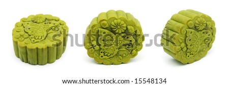 Three different angle view of a green tea flavor moon cake over white background.