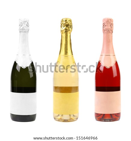 Three different bottles of champagne.