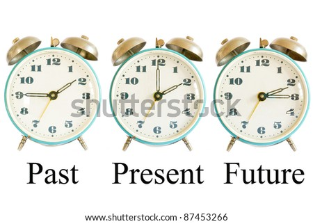 three different clocks showing different times representing past present future; time concept
