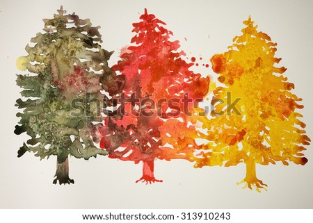 Three different colored christmas trees. The dabbing technique gives a soft focus effect due to the altered surface roughness of the paper.
