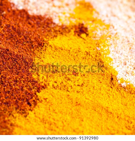 Three different  colorful powdered spices background