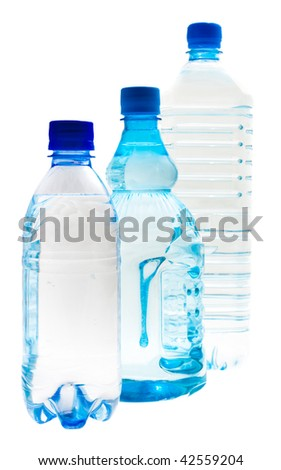 Three different form bottles. Isolated.