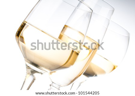 Three different glasses of white wine, close-up - stock photo