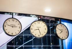 Three different international hanging wall clock, London, Tokyo, Paris