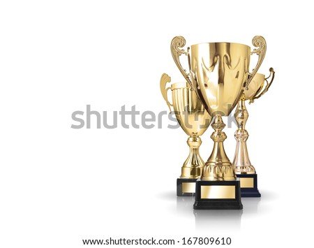 three different kind of golden trophies. Isolated on white background