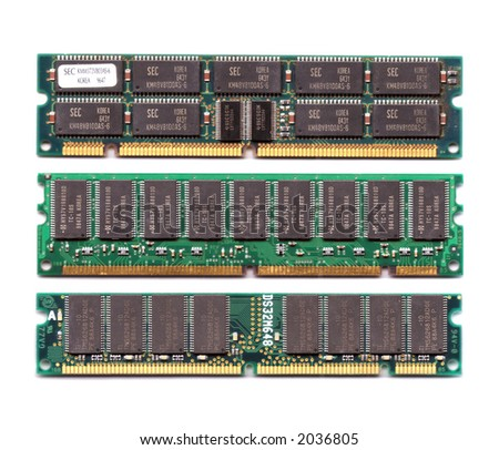 Three different layout ram chips module isolated on white background