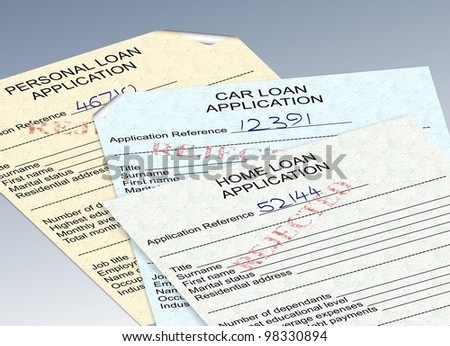 three different loan applications with a red rejected stamp / rejected loan applications