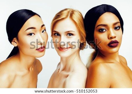 three different nation woman: asian, african-american, caucasian together isolated on white background happy smiling, diverse type on skin, lifestyle people concept