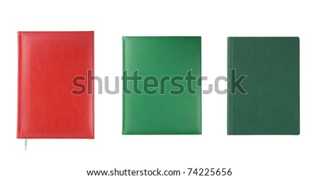 Three different notebooks isolated over white