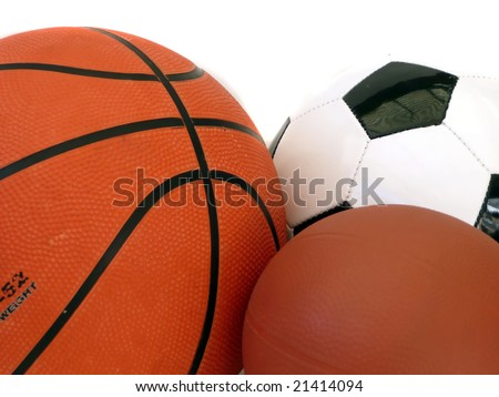 Three different sports balls in a group with white background.