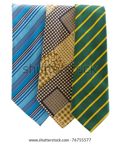 Three different tie. Isolated on white background