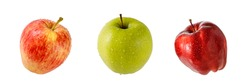 Three different varieties of fresh apples with water drops isolated on a white background