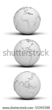 Three different views of the globe made out of paper