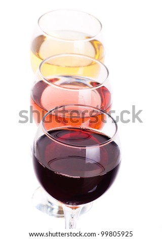 Three different wine glasses isolated on white