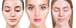 Three different women with different contour on face. Shape of face concept.
