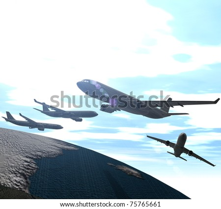 Three-dimensional aircraft overfly the land