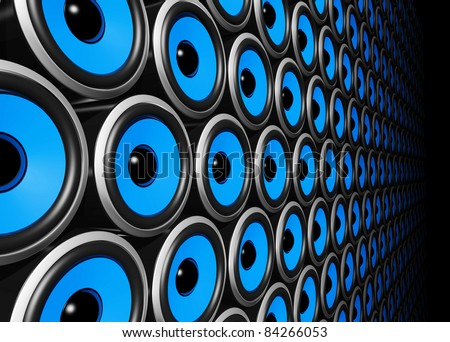 three dimensional blue speakers wall